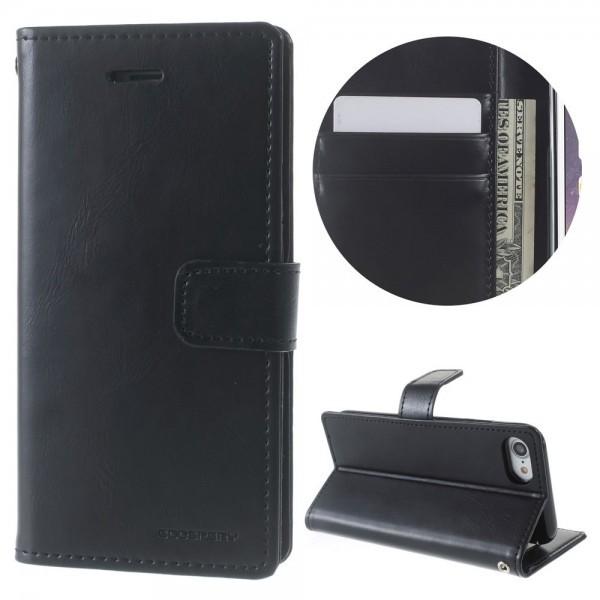 iPhone 8 Plus / 7 Plus - Blue Moon Leder Flip Etui Hülle Karten schwarz
