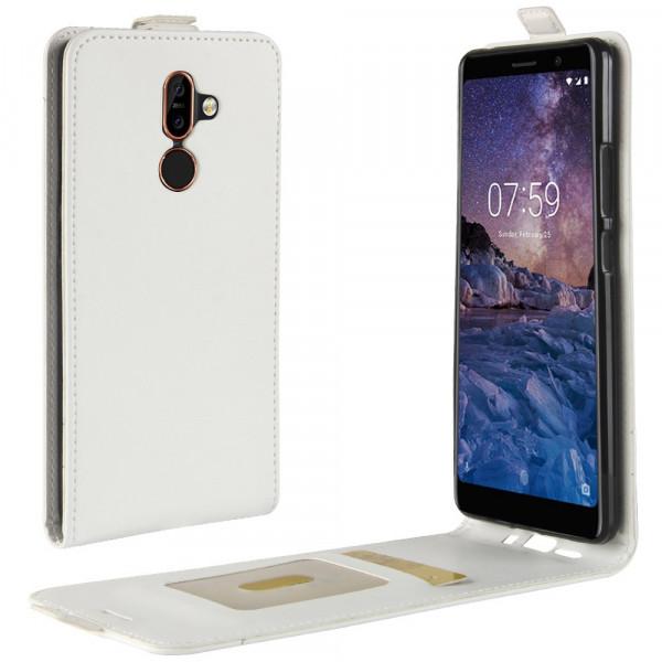 Nokia 7 Plus - Leder Flip Case mit Fotofach vertikal weiss