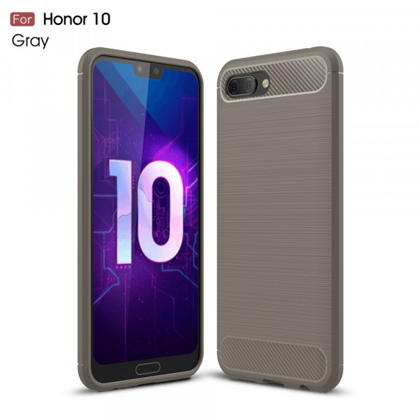 Honor 10 - Silikon Gummi Case Metall Carbon Look grau
