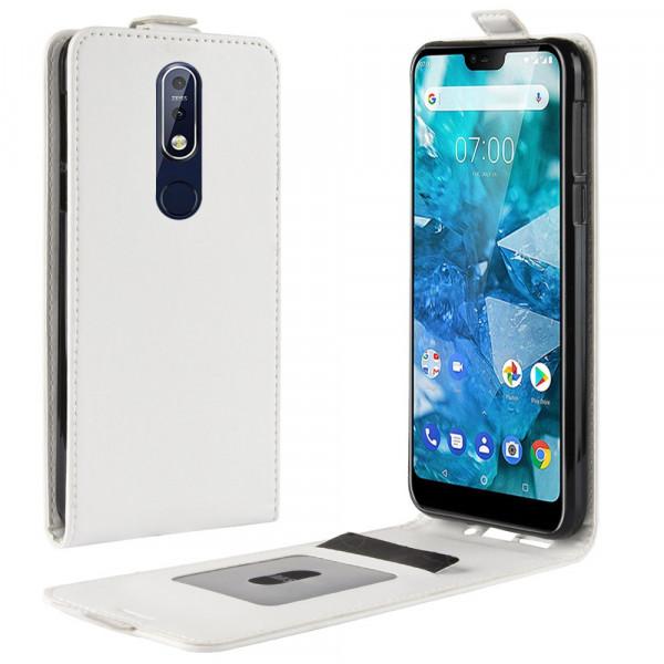 Nokia 7.1 - Leder Flip Case mit Fotofach vertikal weiss