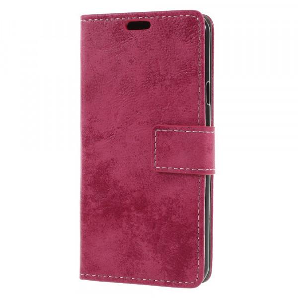 LG Q7 - Vintage Leder Hülle in Wildleder Optik pink