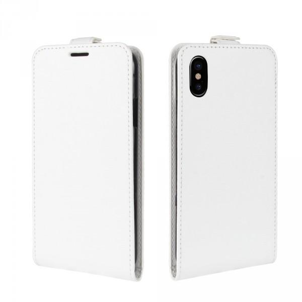 iPhone Xs / X - Leder Flip Case mit Fotofach vertikal weiss