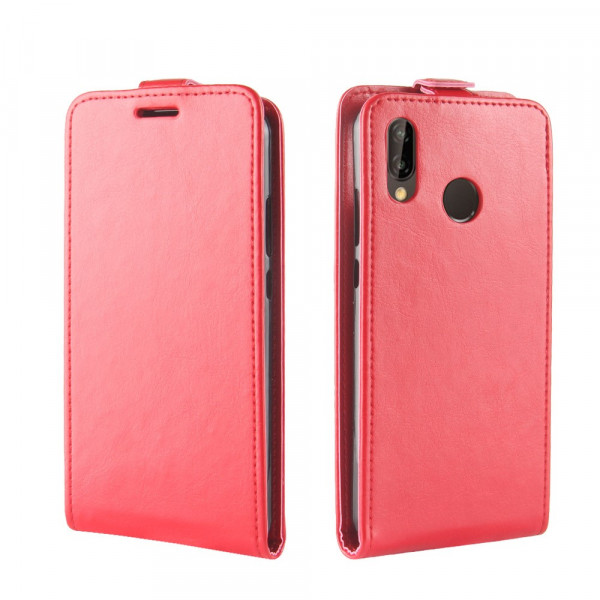 Huawei P20 Lite - Leder Flip Case mit Fotofach vertikal rot