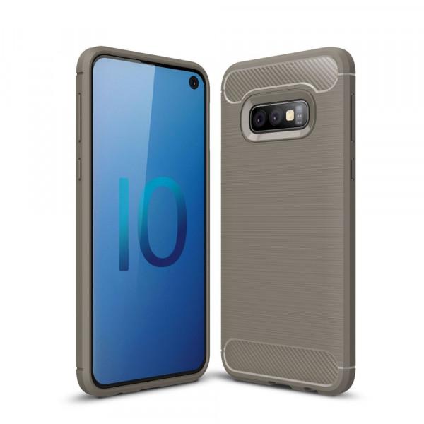 Galaxy S10 Lite - Metall Carbon Look Gummi Hülle grau