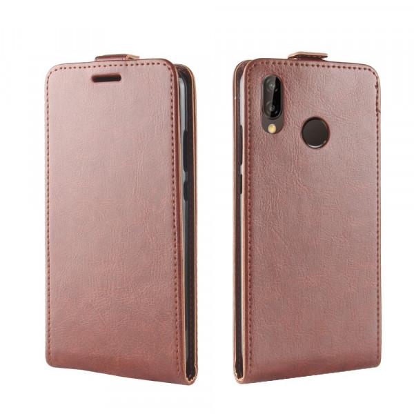 Huawei P20 Lite - Leder Flip Case mit Fotofach vertikal braun