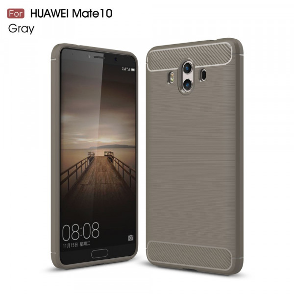 Huawei Mate 10 - Silikon Gummi Case Metall Carbon Look grau