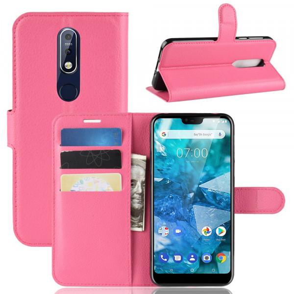 Nokia 7.1 -  Leder Etui Hülle mit Kartenfächern pink