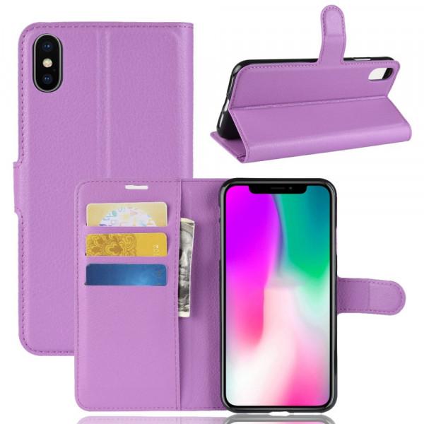 iPhone 9 - Leder Hülle mit Karten- und Fotofach violett