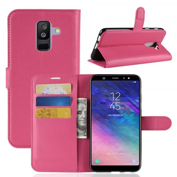 Galaxy A6+ PLUS 2018 - Leder Taschen Etui Kartenfächer pink