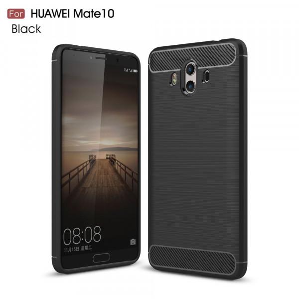 Huawei Mate 10 - Silikon Gummi Case Metall Carbon Look schwarz