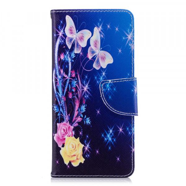 Nokia 5.1 2018 - Leder Taschen Etui  Hülle Kartenfächer Schmetterling blau