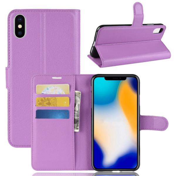 iPhone 9 Plus - Leder Hülle mit Karten- und Fotofach violett