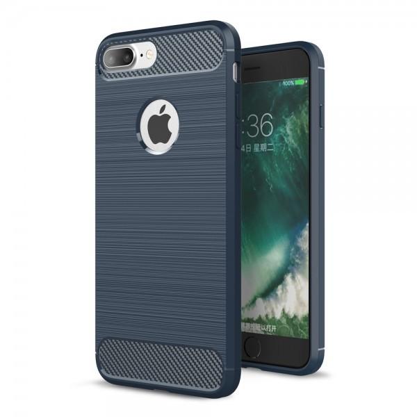 iPhone 7 Plus - Silikon Gummi Case Metall Carbon Look dunkelblau