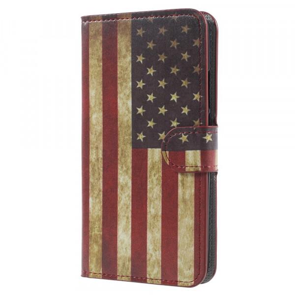 Huawei Mate 10 - Leder Hülle Kartenfach Etui USA Amerika Retro Flagge