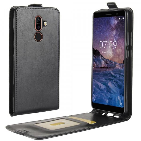 Nokia 7 Plus - Leder Flip Case mit Fotofach vertikal schwarz