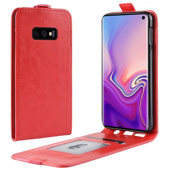 Galaxy S10 Lite - Leder Flip Case vertikal rot