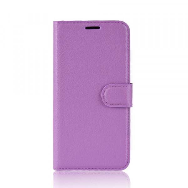 Nokia 7.1 - Leder Etui Hülle mit Kartenfächern violett
