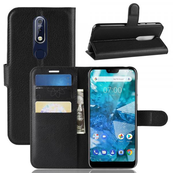 Nokia 7.1 -  Leder Etui Hülle mit Kartenfächern schwarz