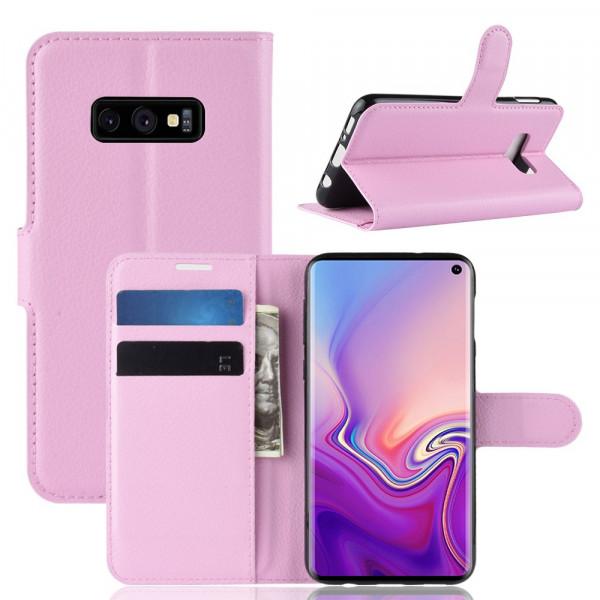 Galaxy S10 Lite -  Leder Etui Hülle mit Kartenfächern rosa
