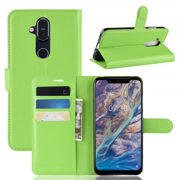 Nokia 8.1 -  Leder Etui Hülle mit Kartenfächern grün
