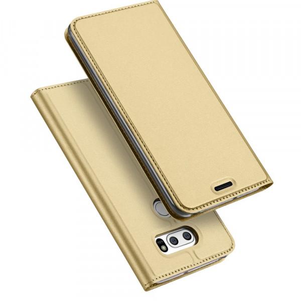 LG V30 - Dux Ducis Leder Flip Folio Case gold