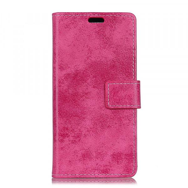 Nokia 7.1 - Vintage Leder Hülle in Wildleder Optik pink
