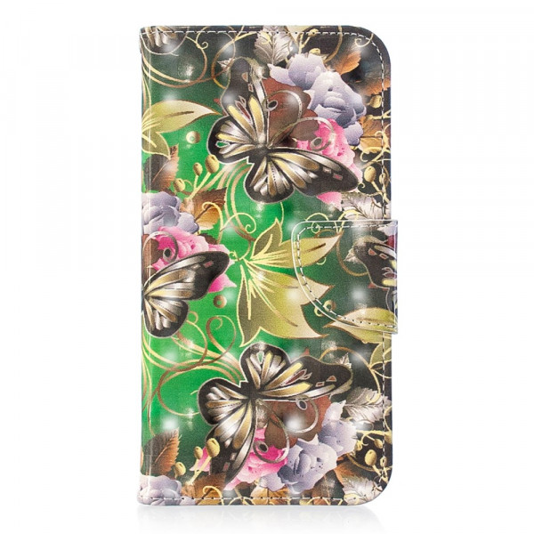 iPhone XS / X - Etui Ledertasche Butterfly Glitzer Effekt grün