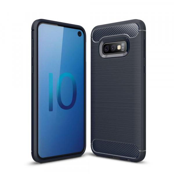 Galaxy S10 Lite - Metall Carbon Look Gummi Hülle dunkelblau