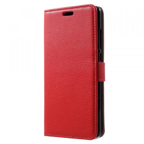 Nokia 5.1 2018 - Leder Taschen Etui  Hülle Kartenfächer rot