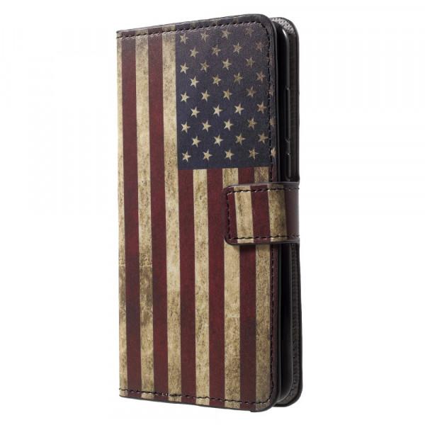 Huawei P20 - Leder Hülle Kartenfach Etui USA Amerika Flagge