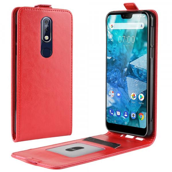 Nokia 7.1 - Leder Flip Case mit Fotofach vertikal rot