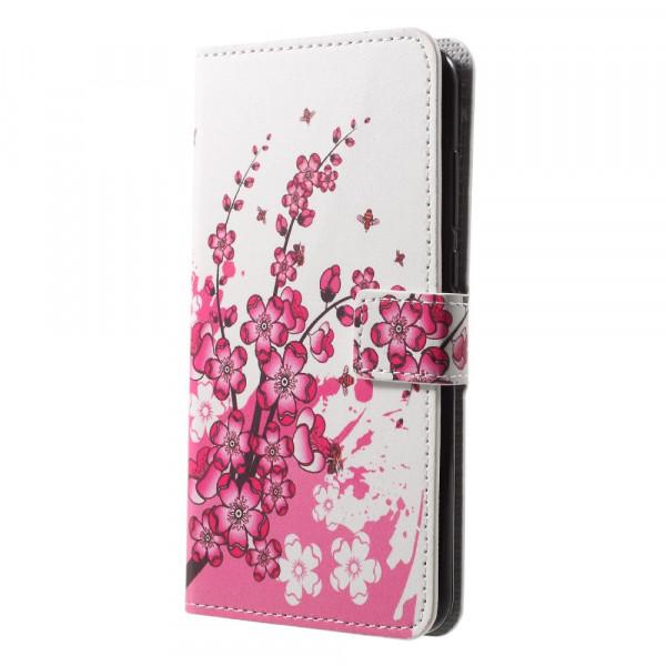 Huawei P20 - Leder Hülle Kartenfach Etui Pflaumen Blüte