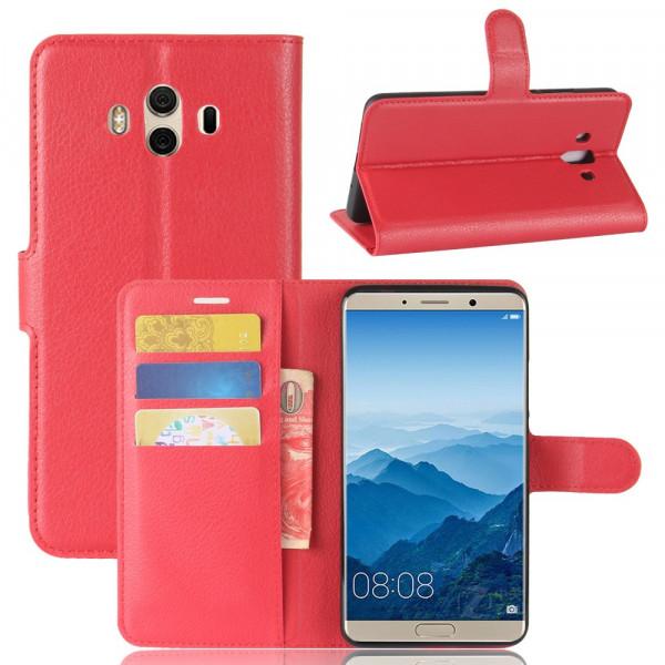 Huawei Mate 10 - Leder Taschen Etui Hülle Kartenfächer rot