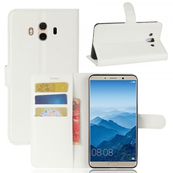 Huawei Mate 10 - Leder Taschen Etui Hülle Kartenfächer weiss
