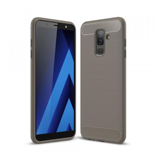 Galaxy A6+ PLUS 2018 - Silikon Gummi Case Metall Carbon Look grau