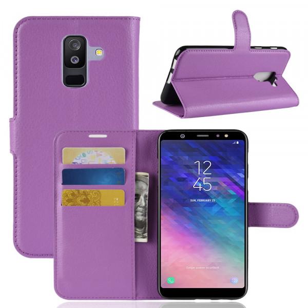 Galaxy A6+ PLUS 2018 - Leder Taschen Etui Kartenfächer violett