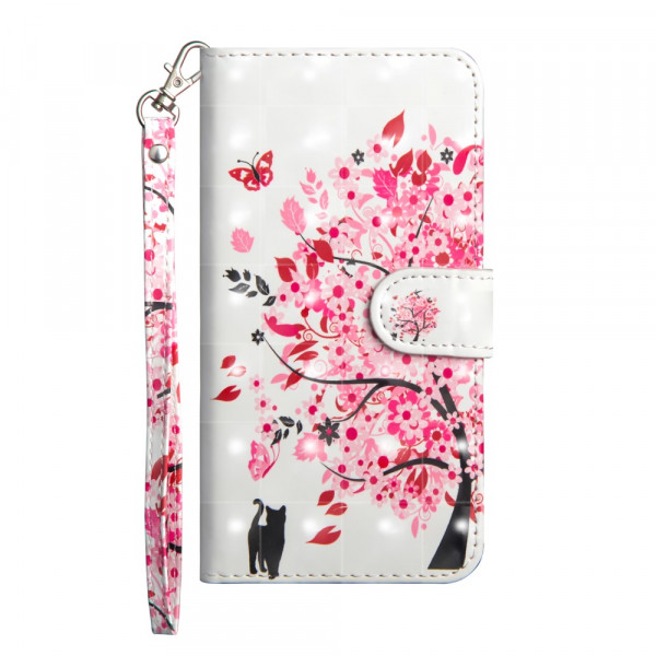 iPhone 9 - Etui Ledertasche Blühender Baum Glitzer Effekt rosa