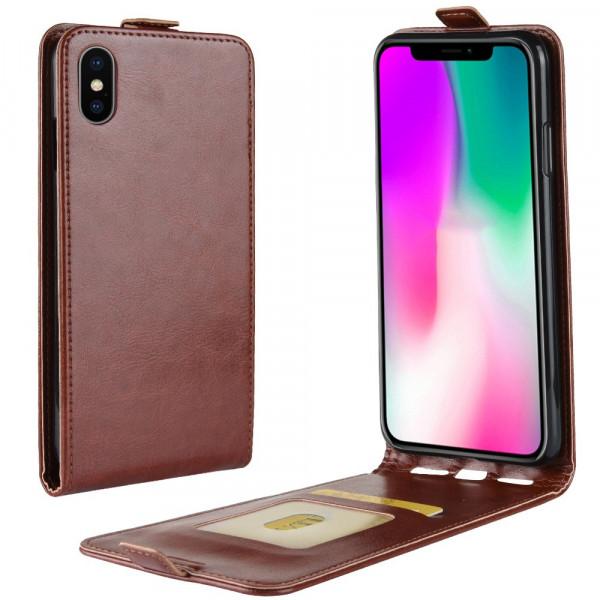 iPhone 9 - Klassisches Leder Flip Case braun