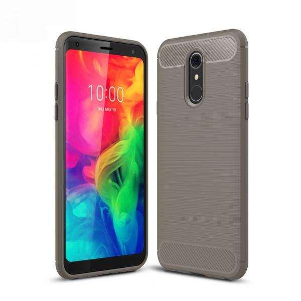 LG Q7 - Silikon Gummi Case Metall Carbon Look grau