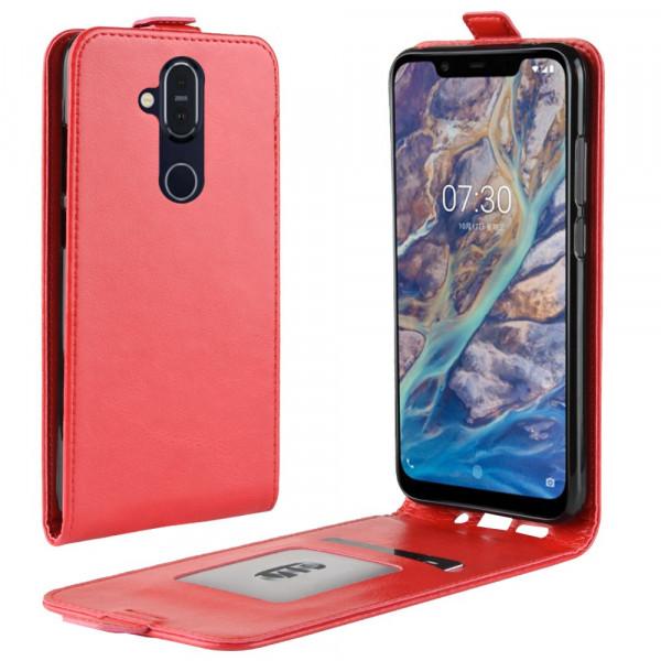 Nokia 8.1 - Leder Flip Case mit Fotofach vertikal rot