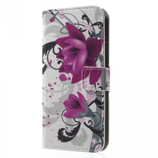 iPhone 8 - Leder Hülle Kartenfach Etui Lotus Blüte