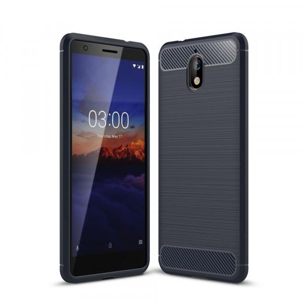 Nokia 3.1 2018 - Silikon Gummi Case Metall Carbon Look blau