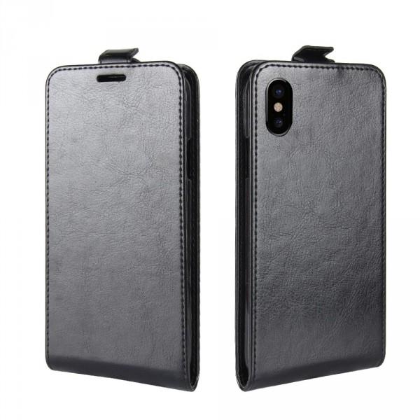 iPhone 8 - Leder Flip Case mit Fotofach vertikal schwarz