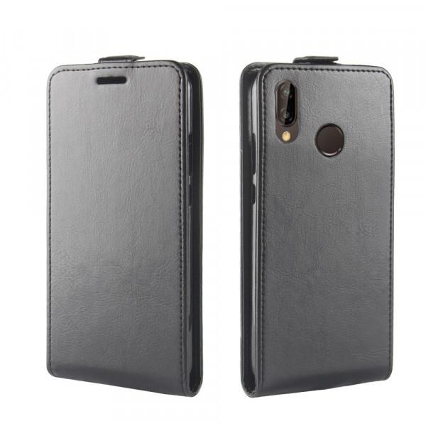 Huawei P20 Lite - Leder Flip Case mit Fotofach vertikal schwarz