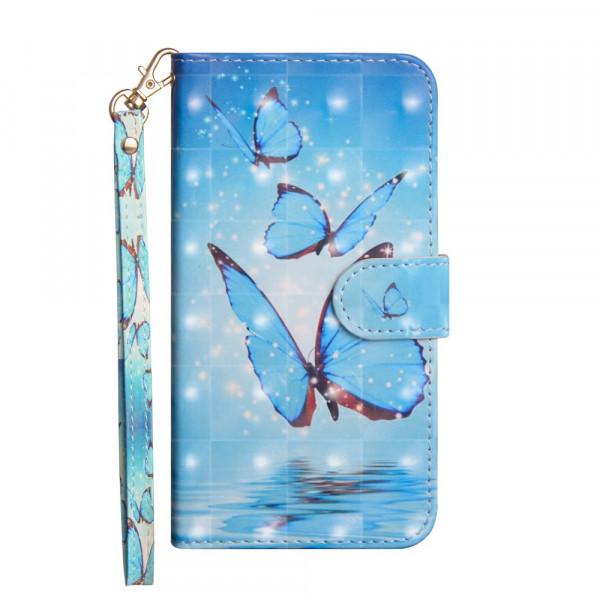 iPhone 9 - Etui Ledertasche Schmetterlinge Glitzer Effekt blau
