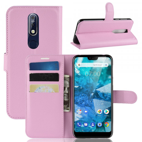 Nokia 7.1 -  Leder Etui Hülle mit Kartenfächern rosa