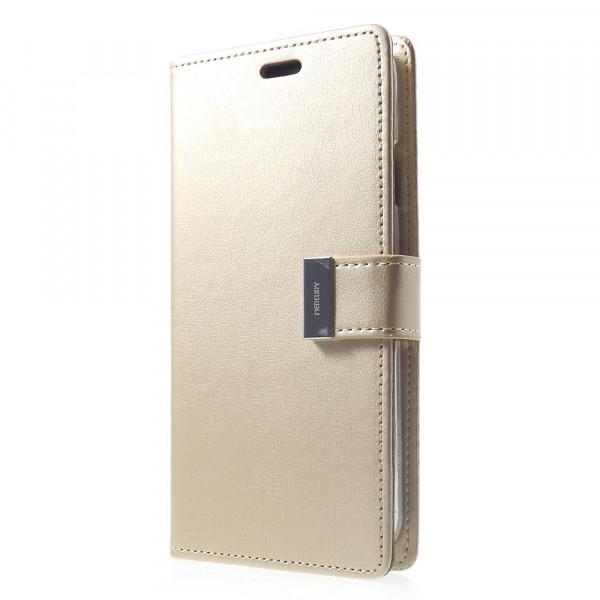 iPhone Xs Max - Mercury Rich Diary Leder Etui Brieftasche gold