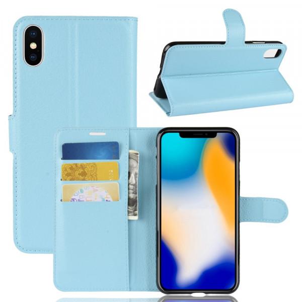 iPhone 9 Plus - Leder Hülle mit Karten- und Fotofach hellblau