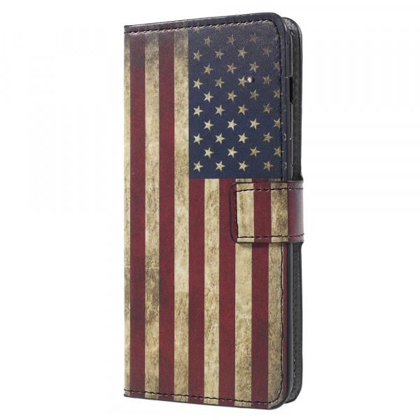 Galaxy A8 2018 - Leder Hülle Kartenfach Etui USA Amerika Flagge