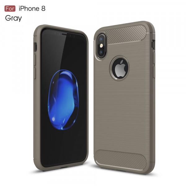 iPhone Xs / X - Silikon Gummi Case Metall Carbon Look grau